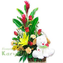 Demuestra toda tu ternura con este hermoso arreglo floral elaborado en canasta de mimbre con 5 rosas importadas, lilium importado , claveles importados, variedad de flores, fino follaje. Contiene un perrito musical donde lleva una rosa en el hocico. (peluche sujeto a stock). Pueden adicionarles chocolates y peluches ingresando a la opción REGALOS en la parte superior de la Pág. web