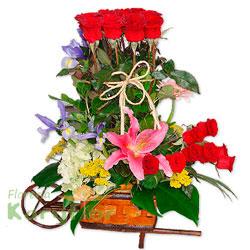 Un delicado arreglo floral para enlazar su amor, viene con 24 rosas importadas, lilium perfumado, iris, hortensia, gerbera holandesa, fino follaje, incluye un hermoso lazo natural, elaborado en carreta o triciclo rústico. Pueden adicionarles chocolates y peluches ingresando a la opción REGALOS en la parte superior de la Pág. web