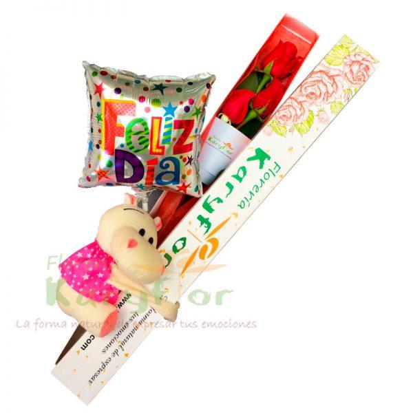 Caja de 3 Rosas con peluche y globo Nº 9, incluye tarjeta dedicatoria y preservante. Pueden adicionar Chocolates y más, ingresando a la opción REGALOS en la parte superior de la Pág. web.