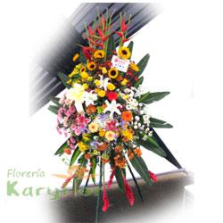 Arreglo floral elaborado con rosas importadas, eliconias, ginger, iris, varidad de flores y fino follaje en base de cerámica decorada. Incluye tarjeta dedicatoria
