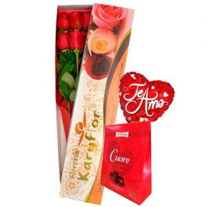 Caja de 6 rosas, globo Nº 9(modelo a escojer) + chocolate sujeto a stock ( Bouquet o Cuore). Incluye tarjeta para dedicatoria y preservante de flores. Pueden adicionar Chocolates y más, ingresando a la opción REGALOS en la parte superior de la Pág. web