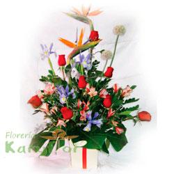 Arreglo floral elaborado con 9 rosas, iris, ave de paraiso, astromelias y fino follaje en base de cerámica decorada. Incluye tarjeta dedicatoria. Pueden adicionar Chocolates y más, ingresando a la opción REGALOS en la parte superior de la Pág. web