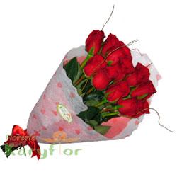 Ramo de 12 rosas en tela importada y lazo en cinta organza.